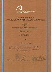 Diplom z Postgraduálního studia cestovního ruchu